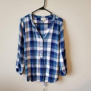 ModCloth Plus Size Blue Check Top